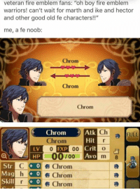 "ike: veteran fire emblem fans: ""oh boy fire emblem  warriors! can't wait for marth and ike and hector  and other good old fe characters!!""  me, a fee noob:  Chrom  Chrom  Chrom  Cha  Chrom  Atk  a FULL  r  Hit  Chroma  0 EXP  00 Crit  o  UHPU 00  m  Str  C C 0 s Chroma  Mag h 0 s Chrom  a  r go i Skill  Chrom"