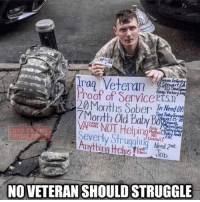 Friends, Memes, and Struggle: Veteran  Proof of Service P  Months Sober In Need On  7Month Old Baby Boarrod  NT Helping  Severly Strugalin Neod  Anything H Job  Dental  NO VETERAN SHOULD STRUGGLE Always take care of our Veterans🇺🇸 🗣 Go Follow 👉 @combat_badassery - - ❎ DOUBLE TAP pic 🚹 TAG your friends - - - ArmyStrong Sailor Marine Veterans Military Brotherhood Marines Navy AirForce CoastGuard UnitedStates USArmy Soldier NavySEALs airborne socialmedia - operator troops tactical Navylife patriot USMC Veteran