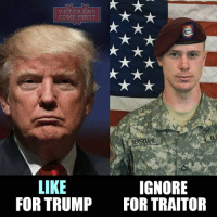 "America, Memes, and Obama: VETERANS  COM  IRST  BERGDAHL  LIKE  IGNORE  FOR TRUMP  FOR TRAITOR Sgt. Bowe Bergdahl's attorneys presented a motion to a military judge Monday morning arguing that President Trump's comments about Bergdahl on the campaign trail have violated his due process rights. Bergdahl appeared before a military judge Monday in Fort Bragg, North Carolina for a pretrial hearing. Bergdahl faces desertion charges for endangering his fellow soldiers who went to search for him after he allegedly left his post in Afghanistan in 2009. Taliban fighters captured him within hours and held him captive for five years until the Obama administration swapped five Guantanamo Bay-detained Taliban prisoners for his release. The hearing focused on Trump's negative comments on the campaign trail about Bergdahl. Trump made over 60 negative statements about Bergdahl while on the campaign trail, calling him a ""dirty rotten traitor"" among other things. To my mind Bowe Bergdahl deserves much more stringent words than those expressed by President Trump. Bergdahl left his service post at a crucial moment for the country, he refused to carry out his direct military duty. This man instead of blaming Trump, like other liberals, should publicly apologize to the country, to plead guilty and go to serve his sentence. Bergdahl has to pay for the betrayal of his comrades by a long term of imprisonment. veteranscomefirst veterans_us Veterans Usveterans veteransUSA SupportVeterans Politics USA America Patriots Gratitude HonorVets thankvets supportourtroops semperfi USMC USCG USAF Navy Army military godblessourmilitary soldier holdthegovernmentaccountable RememberEveryoneDeployed Usflag StarsandStripes"