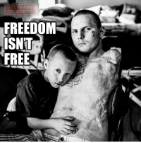 "Memes, Patriotic, and Rude: VETERANS  COME FIRST  FREEDOM  ISNT  FREE Army Spc. Jerral Hancock sits for a portrait with his son Julius. It's not rude, these portrait of wounded vet is meant to be stared at for everybody to understand that FREEDOM ISN""T FREE. On his 21st birthday, a roadside bomb hit the tank Hancock was driving in Iraq. The explosion sent shrapnel into his spine, paralyzing him. It is believed that Hancock was trapped under the wreckage of his Army tank in Iraq for half an hour before he was rescued. These wounds belong to all of us. veteranscomefirst veterans_us Veterans Usveterans veteransUSA SupportVeterans Politics USA America Patriots Gratitude HonorVets thankvets supportourtroops semperfi USMC USCG USAF Navy Army military godblessourmilitary soldier holdthegovernmentaccountable RememberEveryoneDeployed Usflag StarsandStripes"
