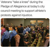 """These VETERANS have a clear understanding of what @kaepernick7 and @nike are trying to do. You other veterans who don't, clearly are lying because your brothers fought for the same flag and they kneel """"FOR THE REASON"""" the protest started, not what that orange ass president made up! Justdoit takecareofyourchirren freenate: Veterans """"take a knee"""" during the  Pledge of Allegiance at today's city  council meeting to support athlete's  protests against injustice.  0 These VETERANS have a clear understanding of what @kaepernick7 and @nike are trying to do. You other veterans who don't, clearly are lying because your brothers fought for the same flag and they kneel """"FOR THE REASON"""" the protest started, not what that orange ass president made up! Justdoit takecareofyourchirren freenate"""