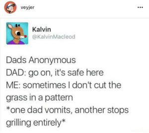 Grilling: veyjer  Kalvin  @KalvinMacleod  Dads Anonymous  DAD: go on, it's safe here  ME: sometimes I don't cut the  grass in a pattern  *one dad vomits, another stops  grilling entirely*