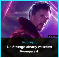 Memes, Avengers, and 🤖: VIA 8SHIT  Fun Fact  Dr. Strange aleady watched  Avengers 4. Still not spoiling