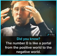 Memes, Portal, and World: VIA 8SHT  Did you know?  The number O is like a portal  from the positive world to the  negative world