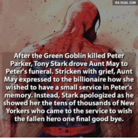 Strickened: VIA 9GAG.COM  After the Green Goblin killed Peter  Parker, Tony Stark drove Aunt May to  Peter's funeral. Stricken with grief, Aunt  May expressed to the billionaire how she  wished to have a small service in Peter's  memory. Instead, Stark apologized as he  showed her the tens of thousands of New  Yorkers who came to the service to wish  the fallen hero one final good bye.