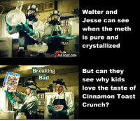cinnamon toast crunch: VIA 9GAG.COM  Breaking  Bad  Walter and  Jesse can see  when the meth  is pure and  crystallized  But can they  see why kids  love the taste of  Cinnamon Toast  Crunch?