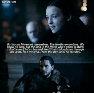 9gag, House, and Blood: VIA 9GAG.COM  But house Mormont remembers. The North remembers. We  know no king, but the king in the North who's name is Stark.  I don't care if he's a bastard, Ned Stark's blood runs through  his veins. He's my king. From this day, until his last day. That scene was really