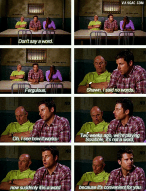 9gag, Love, and Psych: VIA 9GAG.COM  Don't say a word.  Shawn, I said no words  Oh, I see how itworks-  Scrabble, it's not a  now suddenly it is a word This is why I love psych so much!