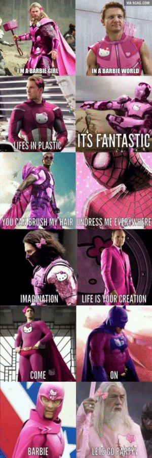 9gag, Barbie, and Party: VIA 9GAG.COM  IM A BARBIE GIRL  IN A BARBIE WORLD  LIFES IN PLASTC  YOU CAN BRUSH RYHAIR UNDRESS ME EVERYAWHERE  IMAGINATION  ON  COME  BARBIE  LETS GO PARTY Triple the cringe