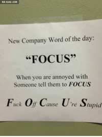 "9gag, Focus, and Fuck: VIA 9GAG.COM  New Company Word of the day:  ""FOCUS""  When you are annoyed with  Someone tell them to FOCUS  Fuck Of Cause U're Supid  re Stupid"