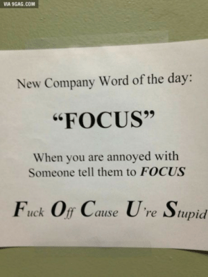 """9gag, Focus, and Fuck: VIA 9GAG.COM  New Company Word of the day:  """"FOCUS""""  When you are annoyed with  Someone tell them to FOCUS  Fuck Off Cause Ure Stupid"""