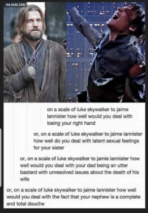 9gag, Dad, and Luke Skywalker: VIA 9GAG.COM  on a scale of luke skywalker to jaime  lannister how well would you deal with  losing your right hand  or, on a scale of luke skywalker to jaime lannister  how well do you deal with latent sexual feelings  for your sister  or, on a scale of luke skywalker to jamie lannister how  well would you deal with your dad being an utter  bastard with unresolved issues about the death of his  wife  or, on a scale of luke skywalker to jaime lannister how well  would you deal with the fact that your nephew is a complete  and total douche