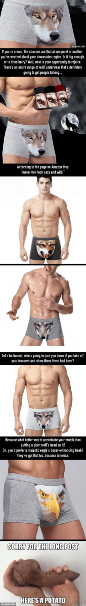 Make Your Junk Look Truly Wild With Wolf Print Underwear: VIA 9GAG.CON  If you're a man, the chances are that at one point or another  you've worried about your downstairs region. Is it big enough,  or is it too hairy? Well, now is your opportunity to rejoice.  There's an entire range of wolf underwear that's definitely  going to get people talking...  According to the page on Amazon they  make men look sexy and wild.  Let's be honest, who's going to turn you down if you take off  your trousers and show them these bad boys?  Because what better way to accentuate your crotch than  putting a giant wolf's head on it?  0h. you'd prefer a majestic eagle's boner-enhancing beak?  They've got that too. because America.  SORRY FORTHELONG POST  HERE'S A POTATO Make Your Junk Look Truly Wild With Wolf Print Underwear