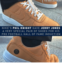 Jerry Jones has never looked cooler.: VIA aNFLNETWORK  NIKE'S PHIL KNIGHT GAVE JERRY JONES  A VERY SPECIAL PAIR OF SHOES FOR HIS  PRO FOOTBALL HALL OF FAME INDUCTION Jerry Jones has never looked cooler.