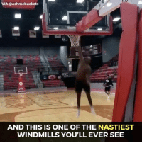 Memes, 🤖, and One: VIA ashmcbuckets  AND THIS IS ONE OF THE NASTIEST  WINDMILLS YOU'LL EVER SEE If you like very impressive dunks, you'll like this very much.