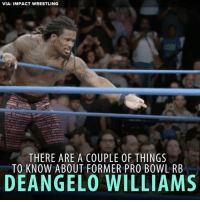 Memes, Nfl, and Wrestling: VIA: IMPACT WRESTLING  THERE ARE A COUPLE OF THINGS  TO KNOW ABOUT FORMER PRO BOWL RB  DEANGELO WILLIAMS DeAngelo Williams: from the NFL to the WWE?