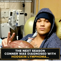 James Conner is an inspiration.: VIA JAMES CONNER/PLAYERS TRIBUNE  THE NEXT SEASON  CONNER WAS DIAGNOSED WITH  HODGKIN LYMPHOMA James Conner is an inspiration.