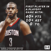 CP3 with a historic performance to close out the Jazz.: VIA THE ELIAS SPORTS BUREAU  FIRST PLAYER IN  A PLAYOFF  GAME WITH:  40+ PTS  10+ AST  0 TO  USTON  *SINCE TURNOVERS BECAME  OFFICIAL STAT IN 1977-78  B R CP3 with a historic performance to close out the Jazz.