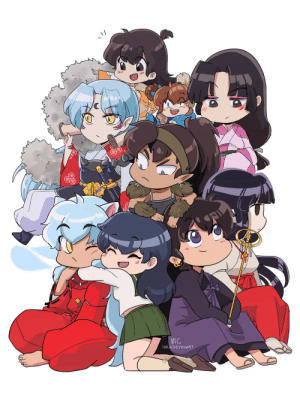 "incaseyouart: THIS TOOK ME SO LONG D: It was 100% worth it. I started watching Inuyasha back in 2003 - it was my first ""real"" anime. It got me started with drawing, and made me so many friends. I still love re-watching my favourite episodes. It will always be my first anime love <3 Chibi layout reference  twitter 