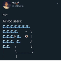 Handsome and Wealthy @larnite • ➫➫➫ Follow @Staggering for more funny posts daily!: Vic  @SaltyVic_  9  Me  AirPod users:  0 Handsome and Wealthy @larnite • ➫➫➫ Follow @Staggering for more funny posts daily!