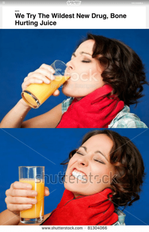 Juice, Nsfw, and Tumblr: VICE CHANNELSv  NSFW  We Try The Wildest New Drug, Bone  Hurting Juice   www.shutterstock.com 81304066 correlatedcontents:  azurewhelp: I just noticed that's a hand with a glove around her neck not a scarf what thef uck