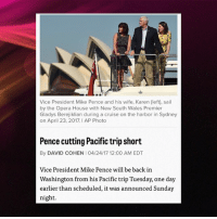 Wired stuff happening in our White House this week. _______________________________________________________________ feminism privilege feministkilljoy feminist feminazis meninism meninist antifeminism antifeminist trumpsamerica trump conservative liberal lovearmy Whitehouse northkorea pence: Vice President Mike Pence and his wife, Karen (left), sail  by the Opera House with New South Wales Premier  Gladys Berejiklian during a cruise on the harbor in Sydney  on April 23, 2017. AP Photo  Pence cutting Pacific trip short  By DAVID COHEN I O4/24/17 12:00 AM EDT  Vice President Mike Pence will be back in  Washington from his Pacific trip Tuesday, one day  earlier than scheduled, it was announced Sunday  night. Wired stuff happening in our White House this week. _______________________________________________________________ feminism privilege feministkilljoy feminist feminazis meninism meninist antifeminism antifeminist trumpsamerica trump conservative liberal lovearmy Whitehouse northkorea pence