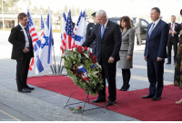 Lay's, Memes, and 🤖: Vice President Mike Pence lays a wreath at the memorial for a fallen solider in Israel's parliament in Jerusalem.