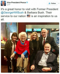"""""""An inspiration to us all."""" Vice President MikePence tweeted this photo with former President George H.W. Bush and First Lady Barbara Bush at the SuperBowl in Houston, Texas. GeorgeBush: Vice President Pence  Follow  @VP  It's a great honor to visit with Former President  @George HWBush & Barbara Bush. Their  service to our nation  E is an inspiration to us  all """"An inspiration to us all."""" Vice President MikePence tweeted this photo with former President George H.W. Bush and First Lady Barbara Bush at the SuperBowl in Houston, Texas. GeorgeBush"""