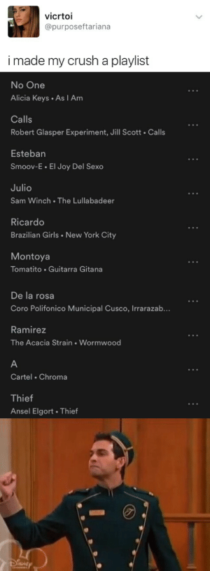 Crush, Girls, and New York: vicrtoi  @purposeftariana  i made my crush a playlist   No One  Alicia Keys As I Am  Calls  Robert Glasper Experiment, Jill Scott . Calls  Esteban  Smoov-E EI Joy Del Sexo  Julio  Sam Winch The Lullabadeer  Ricardo  Brazilian Girls New York City  Montoya  Tomatito Guitarra Gitana   De la rosa  Coro Polifonico Municipal Cusco, Irrarazab...  Ramirez  The Acacia Strain Wormwood  Cartel Chroma  Thief  Ansel Elgort. Thietf