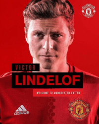He is one of us now❤️. @victorlindelof mufc: VICTOR  LINDELOF  WELCOME TO MANCHESTER UNITED  adidas He is one of us now❤️. @victorlindelof mufc