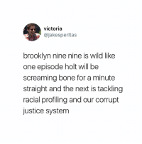 Memes, Brooklyn, and Justice: victoria  @jakesperltas  brooklyn nine nine is wild like  one episode holt will be  screaming bone for a minute  straight and the next is tackling  racial profiling and our corrupt  justice system hOw dare you. DETECTIVE DIAZ I AM YOUR SUPERIOR OFFICER