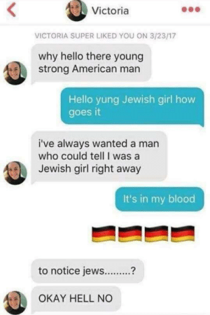 Hello, American, and Girl: Victoria  VICTORIA SUPER LIKED YOU ON 3/23/17  why hello there young  strong American man  Hello yung Jewish girl how  goes it  i've always wanted a man  who could tell I was a  Jewish girl right away  It's in my blood  to notice jews?  2  OKAY HELL NO It's in his blood fraulein!