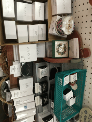"Seen at a local store with ""crafty"" kind of vibe: VICTORIAN FLOWER CUFF WATCH  Silvertone  B 850 # 874  FLOWER CUFF  SILVERTONE  $19.99 TAx  8 85  EMFOW  VON  NOA  ON  VIOLENCE uRERPLY LK WAC  Put o  lipsl  you'll be fin  WREATH NECKLACE AND EARRING HOLIDAY GIFTSET  B 850 #463  ANGEL WING  NECKLACE  $12.99+TAX  WFATS  S7.09 A  B 85015  RELIGO L  FAVORITE TREASURE  PENDANT NECKLACE  RHINESTONE  SHAMROCK  SALE PRICE S 1A AFCIACE  66 6 $  NECKLACE  VON  #212  B 850  S 19 99 VALUE  B 850 # 259  Nerry  as  New  C IER  SHIN EEL6  B 850 4 259  B8S0 e 259  FLOWERM KT PURPLE BROOCH  ONNER MARKET PORPLE ROOCH  Demo  $9.99  NPS  B 850# 878  WREATH  GIFT SET  $7.99 TAX  GIFT SET  (APRIL)  $9.99-TAx  PRET  wEATH 4ECKLACE AND EAP NG HOLAY G s  GREEN FLORAL  NECKLACE &  EARRING SET  # 204  B 850  (S1299 VALUB)  S 9.99 TAX  B 850 # 259  FLOWER MARKET PURPLE BROOCH  $9.99  B 850 # 259  TELVEMARKET PURPLE BROOCH  99  B 850 #786  BOW GIFT SET  $9.99.er  94000 94889  B 850 # 786  BOW GIFT SET  $9.99. TAX  AVON  B 850 # 259  $ 9 99  EMBELLISHED BOW NECKLACE  AND EARRING GIFT SET  EMBELLISHED BOW NECKLACE  AND EARRING GIFT SET  FLOWER MARKET PURPLE BROOCH  AVON  B 850 # 878  WREATH  GIFT SET  $7.99+TAX  Follou  aus Your Hear  B 850 # 369  WILD SIDE  WATCH  MY TRUTH CHARM BRACELET  8850 #856  Heart  ROUND FACE WATCH  PINK  B 850 # 154  $19.99 TAX  $29.99  MY TRUTH BRACELET  SALE PRICE $ 8.50  HEART  $16.99  SALE PRICE $ 8.50  B 850 # 259  PLNR MAMK  $9.99  OCH  A  SALE PRICE  SALE PRICES  ALTH Seen at a local store with ""crafty"" kind of vibe"