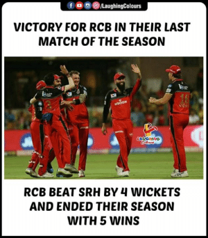 #RCBvSRH #IPL: VICTORY FOR RCB IN THEIR LAST  MATCH OF THE SEASON  LAUGHING  RCB BEAT SRH BY 4 WICKETS  AND ENDED THEIR SEASON  WITH 5 WINS #RCBvSRH #IPL