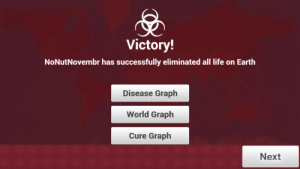 Be Like, Life, and Earth: Victory!  NoNutNovembr has successfully eliminated all life on Earth  Disease Graph  World Graph  Cure Graph  Next It really be like that