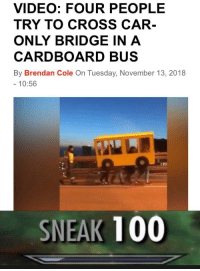 Anaconda, Cross, and Video: VIDEO: FOUR PEOPLE  TRY TO CROSS CAR  ONLY BRIDGE IN A  CARDBOARD BUS  By Brendan Cole On Tuesday, November 13, 2018  10:56  199  SNEAK 100 You can't get sneakier than this
