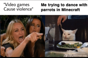 """How is jamming out with birbs violent: """"Video games  Cause violence""""  Me trying to dance with  parrots in Minecraft How is jamming out with birbs violent"""