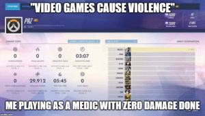 """Fire, Sorry, and Video Games: """"VIDEO GAMES CAUSE VIOLENCE  STATISTIC  OVERVIEW  46  3008  CURRENT  WINS  PAZ  17 HRS  3008  26/20000  SEASON HIGH  TIME PLAYED  CAREER STATS  HERO COMPARISON  CURRENT COMPETITIVE SEASON  TIME PLAYED  1  O  MERCY  ANA  0  03:07  BASTION  ELIMINATIONS  FINAL BLOWS  OBJECTIVE KILLS  OBJECTIVE TIME  D.VA  AVG PER 10 MIN: 0.00  TOTAL  AVG PER 10 MIN: 0.00  TOTAL:  AVG PER 10 MIN: 0.00  AVG PER 10 MIN 00.40  TOTAL  TOTAL 1 HRS  GENJI  HANZO  JUNKRAT  0  29,912  05:45  0  wCio  HERO DAMAGE DONE  HEAUING DONE  so1o κι  TIME ON FIRE  MCCREE  AVG PER 10 MIN: 00-39  TOTAL:1 HAS  AVG PER 10 MIN: 000  TOTAL: 0  AVG PER 10 MIN: 9.702  TOTAL: 997.373  AVG PER 10 MIN: 0.001  MEI  TOTAL  ORISA  ME PLAYING AS AMEDIC WITH ZERO DAMAGE DONE  CAPE ALK  imgflip.com Well, I'm sorry sir, I can not touch a gun."""