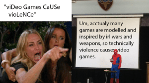 "Video Games, Yeah, and Brain: ""viDeo Games CaUSe  vioLeNCe""  Um, acctualy many  games are modelled and  inspired by irl wars and  weapons, so technically  violence causes yideo  games.  HI Yeah, This is big brain time."