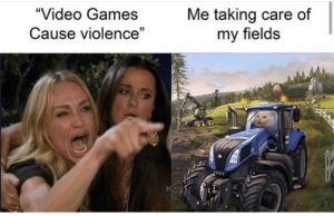 """Fields: """"Video Games  Me taking care of  my fields  Cause violence"""""""