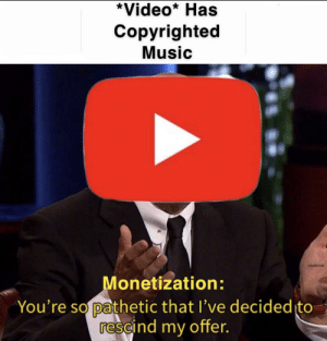 The State Of Youtube: *Video* Has  Copyrighted  Music  USAIRİ 945  onetization:  You're so pathetic that l've decided to  rescind my offer. The State Of Youtube