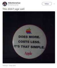 Apple, Simple, and Apr: VideoGameCzar  @VideoGameCzar  Follow  This didn't age well  DOES MORE  COSTS LESS.  IT'S THAT SIMPLE  Apple  10:39 pm-8 Apr 2018