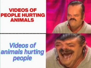 It really be like that though via /r/memes https://ift.tt/31bptKY: VIDEOS OF  PEOPLE HURTING  ANIMALS  Videos of  animals hurting  people It really be like that though via /r/memes https://ift.tt/31bptKY