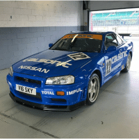 An iconic @Nissan R34 GT-R in Calsonic livery at Silverstone today 😍😍😍 We shot a special film today for Car Throttle's YouTube channel... coming soon!: VIE SKY  TOTAL  IMPUL An iconic @Nissan R34 GT-R in Calsonic livery at Silverstone today 😍😍😍 We shot a special film today for Car Throttle's YouTube channel... coming soon!