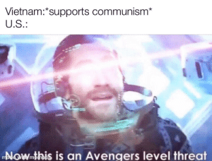 Reddit, Avengers, and The Real: Vietnam:*supports communism*  U.S.:  NOWmthis is an Avengers level threat  made with mematic Hmmmmmmmm, to take their ketamine the real reason for war was