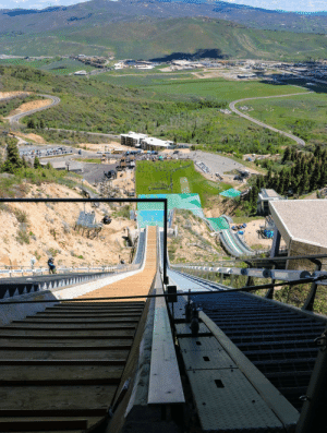 City, Park City, and Ski: View from the 120m Ski jump at the Park city Olympic training center