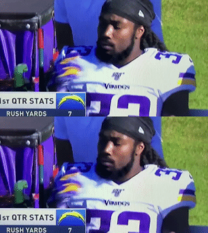 Somebody get this man in concussion protocol  https://t.co/G3MM7ng28h: VIKIDGS  IST QTR STATS  RUSH YARDS   VIKINGS  IsT QTR STATS  RUSH YARDS Somebody get this man in concussion protocol  https://t.co/G3MM7ng28h