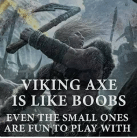 Viking: VIKING AXE  IS LIKE BOOBS  EVEN THE SMALL ONES  ARE FUN TO PLAY WITH