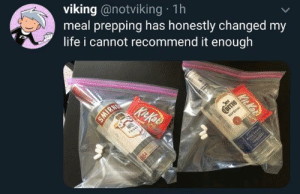 from twitter.com/notviking: viking @notviking 1h  meal prepping has honestly changed my  life i cannot recommend it enough  IRN  KitKos  N21  vos  Jast  uervo  ESPECIAL  BLUE AG4VE  Kit Kat from twitter.com/notviking