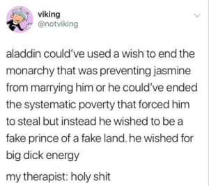 Aladin energy: viking  @notviking  aladdin could've used a wish to end the  monarchy that was preventing jasmine  from marrying him or he could've ended  the systematic poverty that forced him  to steal but instead he wished to be a  fake prince of a fake land. he wished for  big dick energy  my therapist: holy shit Aladin energy